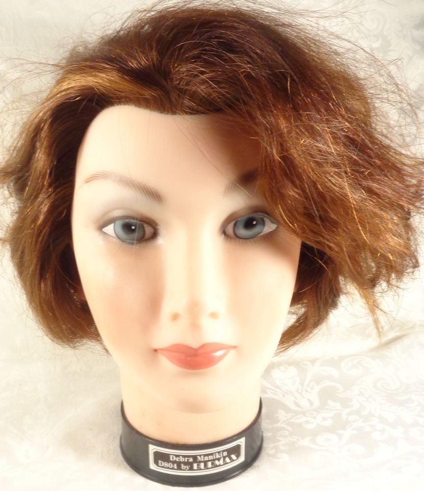 VINTAGE BURMAX 100% HUMAN HAIR COSMETOLOGY RED HEAD MANNEQUIN HEAD HAIR STYLISTS