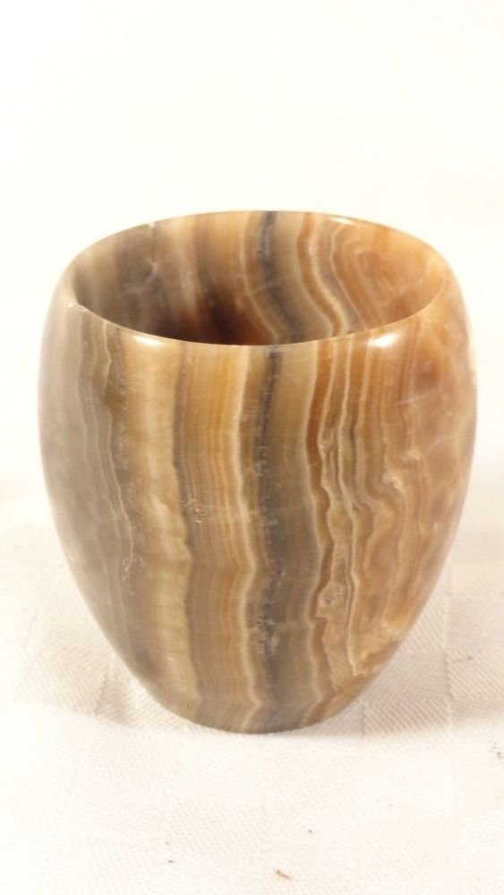 VINTAGE MID CENTURY HAND CARVED POLISHED AGATE STONE DRINKING CUP GLASS SUPERB