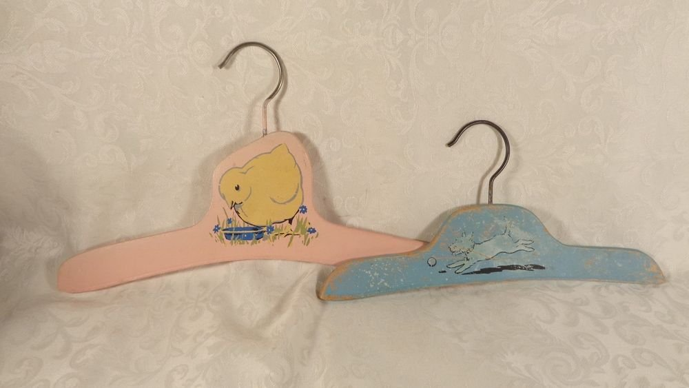 ANTIQUE LOT 2 CHILDS HAND PAINTED CLOTHES HANGERS TERRIER DOG YELLOW DUCK RARE