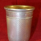 "VINTAGE HAND CHASED ALUMINUM ""JUST A THIMBLE FULL"" METAL SHOT GLASS LOVELY"