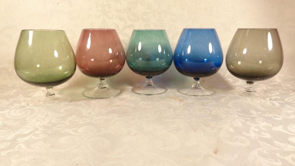 VINTAGE SET 5 CRYSTAL GLASS CORDIAL BRANDY SET MULTI-COLOR BLUE PINK GREEN BLUE