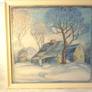 VINTAGE VAN GOGH STYLE COUNTRY SIDE PASTEL FRAMED PICTURE DRAWING SIGNED BEAUTY