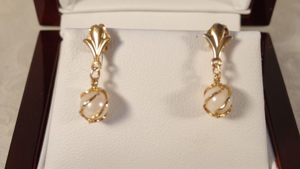 VINTAGE SGD 585 14K YELLOW GOLD CULTURED PEARL EARRINGS DANGLE GOLD WRAP A ROUND