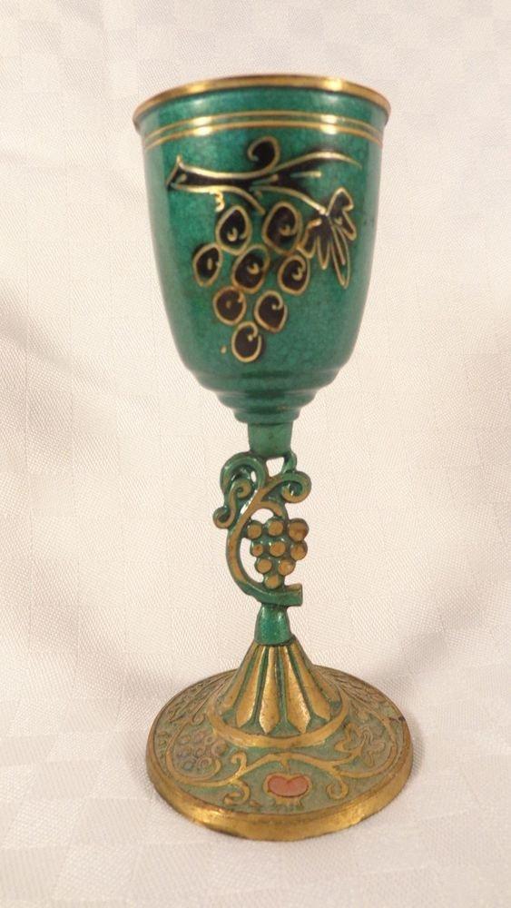 VINTAGE MADE ISRAEL ENAMEL ON COPPER STEMWARE GLASS CHALICE CUP GRAPE DESIGN