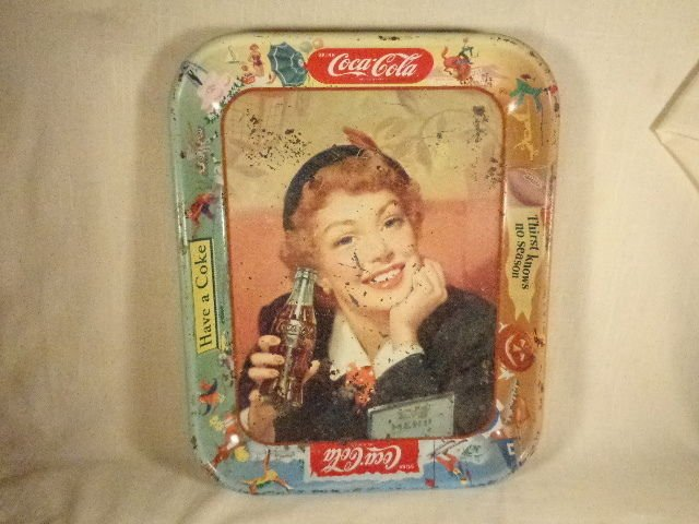 ANTIQUE TIN METAL COCA COLA SODA ADVERTISING TRAY PLATTER 1945 WW2 ERA