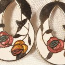 VINTAGE GOLD PLATE ENAMEL ROSES CLOISONNE DROP PIERCED EARRINGS LOVELY PAIR