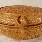 VINTAGE HAND WOVEN WICKER PETITE SEWING JEWELRY BASKET PINK SILK LINED LOVELY