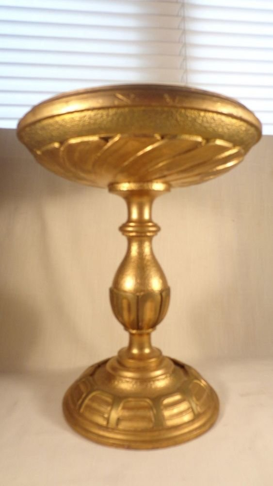 ART DECO ARTS ^ CRAFTS CARVED WOOD GOLD GILT TAZZA PEDESTAL PLANT FRUIT STAND