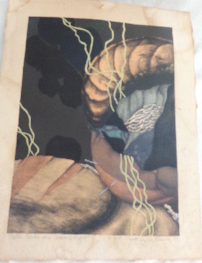 """1980 SIGNED PRINT JENNIFER GLEASON """"ROTTEN PEACHES ON SUMMER NIGHT UNUSUAL ART"""