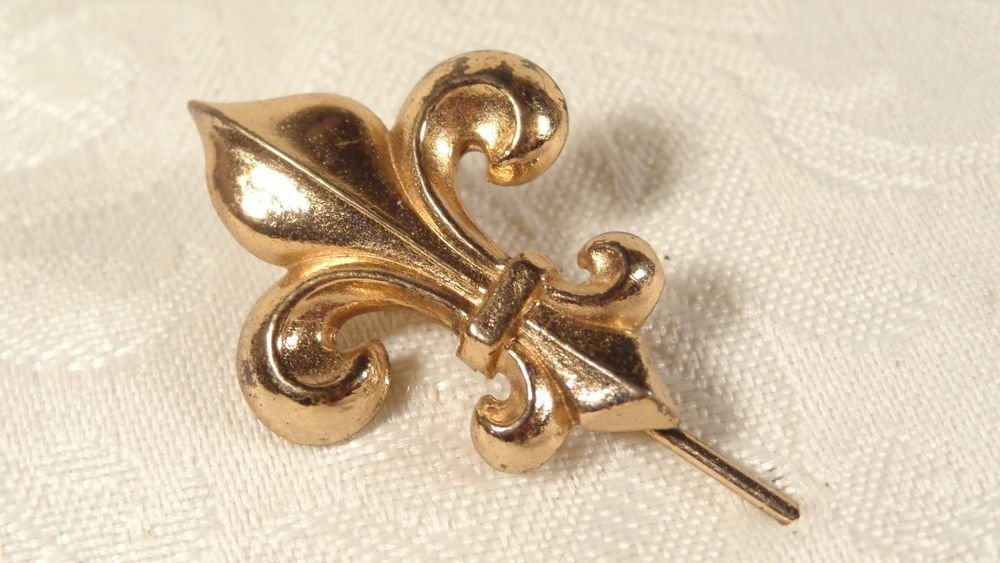 ART DECO GOLD FILLED FRENCH FLEUR DE LIS STICK PIN/BROOCH LOVELY PIN