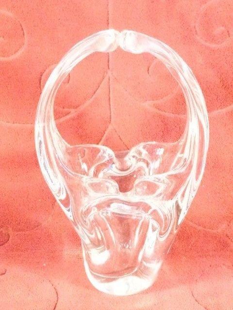 VINTAGE HEAVY CRYSTAL GLASS EASTER BASKET VASE BOWL BEAUTIFUL GLASS W/HANDLE