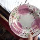 EARLY ANTIQUE GAUDY WELSH HAND PAINTED DISH  BOWL ZINNIA FLOWERS GOLD EDGE