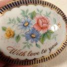 VINTAGE 1976 COBALT PORCELAIN MOTHERS DAY LOVE TRINKET BOX HAND PAINTED FLOWERS