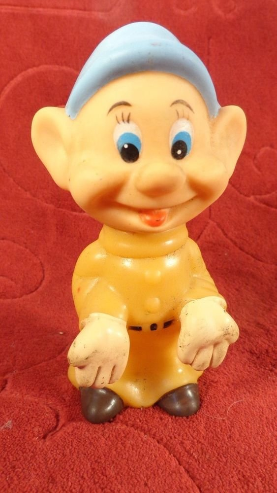 "EARLY WALT DISNEY SNOW WHITE SEVEN DWARFS ""DOPEY"" RUBBER SQUEAK TOY FIGURINE"