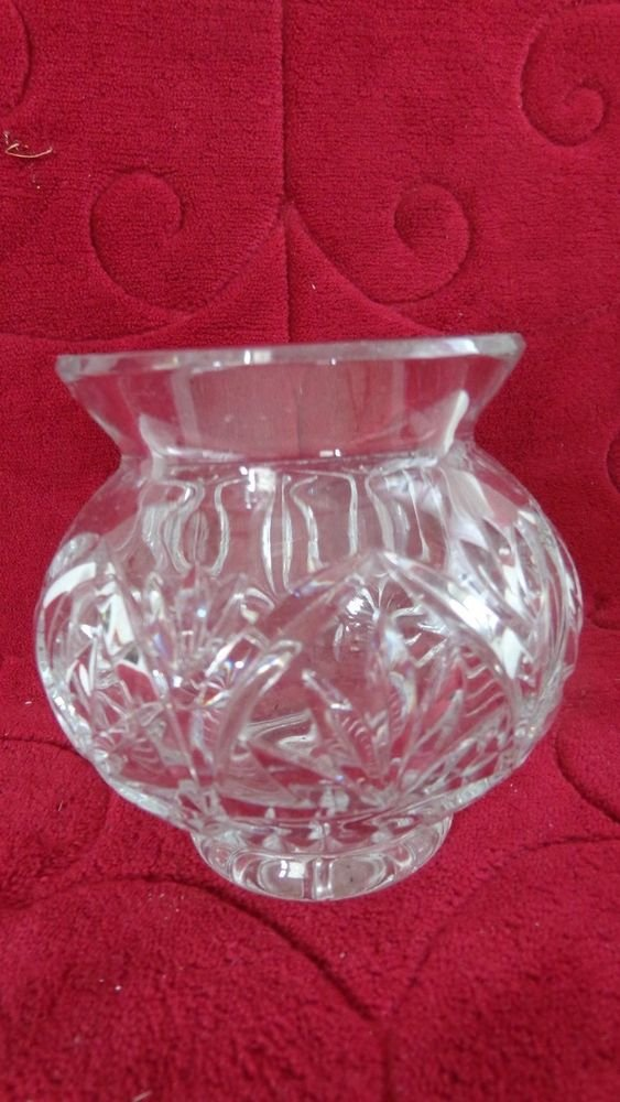 """VINTAGE CUT CRYSTAL GLASS PETITE FLORAL VASE 3.5"""" TALLL LOVELY CUT GLASS"""