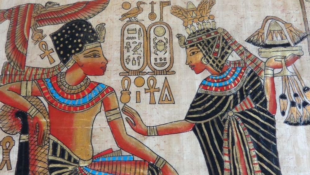 VINTAGE EGYPTIAN HIEROGLYPHIC DRAWING ON PAPYRUS PAPER GODDESS HATHOR BEAUTY