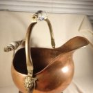 ANTIQUE COPPER & BRASS HAND FORGED COAL SKUTTLE DELFT CHINA HANDLES LION'S HEAD