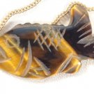 VINTAGE HAND CARVED TIGER EYE STONE TROUT FISH PENDANT NECKLACE NAUTICAL GIFT