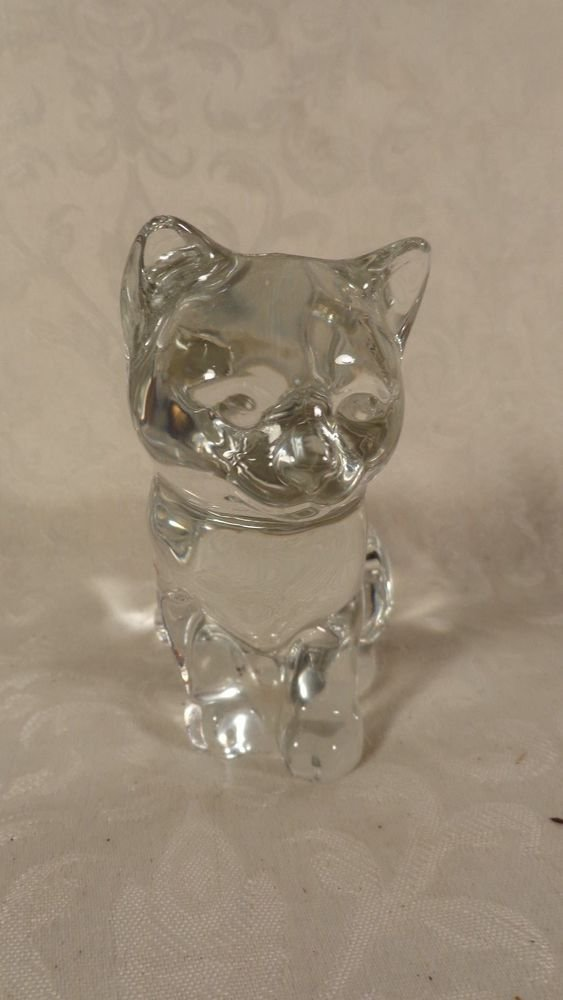 VINTAGE LEAD CRYSTAL KITTEN CAT FIGURINE STATUE PAPERWEIGHT ADORABLE NO CHIPS