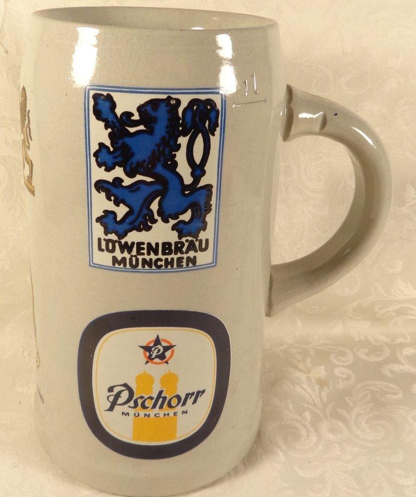 VINTAGE HUGE GERMAN STONEWARE BEER STEIN CREST MUNCHENPSCHORR LOWENBRAU SUPERB