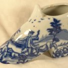ANTIQUE? FLOW BLUE ENGLAND DELFT PORCELAIN VICTORIAN SHOE FIGURINE  COLONIAL DOG