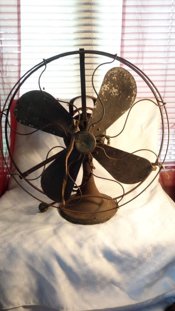 ANTIQUE HEAVY IRON OSCILLATING ELECTRIC FAN BY GRAYBAR INDUSTRIAL STEAMPUNK