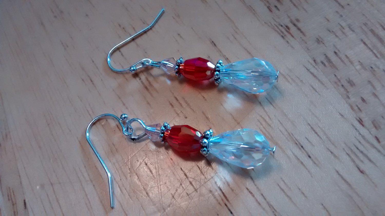 Clear AB Austrian Crystal Pendant Earrings