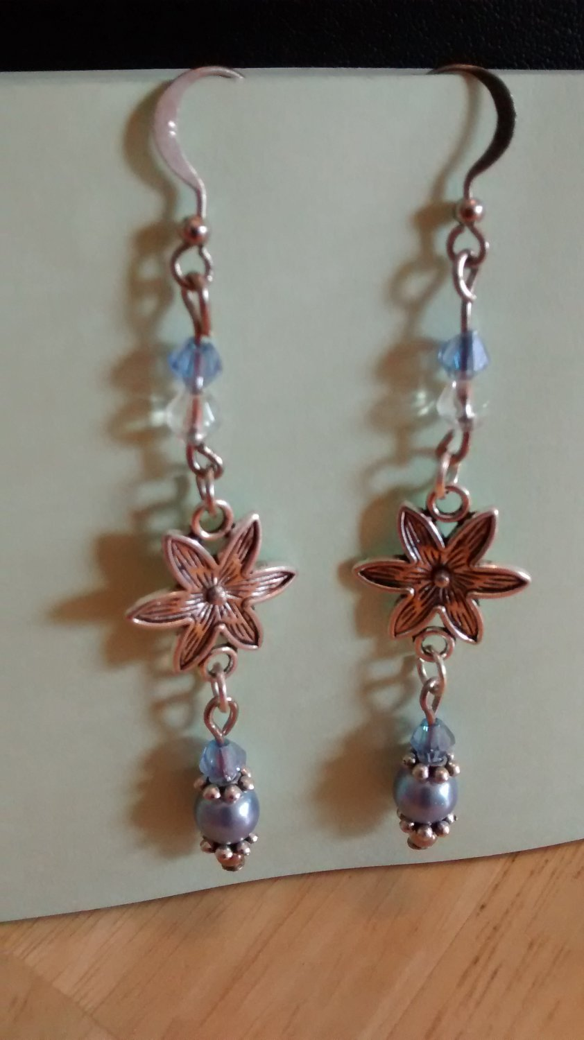 "2 3/4"" Pewter Flower SP Earrings w/Austrian crystals"