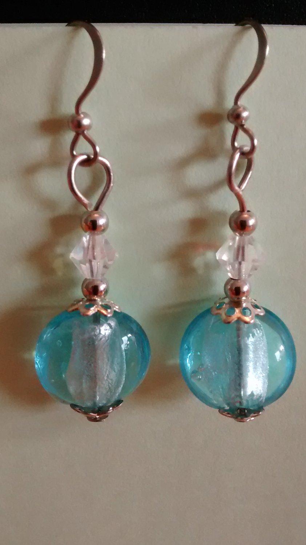 """1 3/4"""" Blue Silver Foil SP Earrings w/Austrian crystals"""