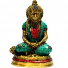 Hanuman Statue God Hindu Turquoise Brass Monkey Metal Sculpture Lord Idol #1