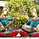 Metal Statue Sculpture Coral Musical Lady Ethinic Tribal Art Brass India buddha