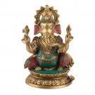 Ganesha Statue Ganesh God Hindu Elephant Lord Metal murti new turquoise coral