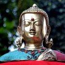 Buddha Head Bust Statue Vintage Brass Shakyamuni Tibet Figure Tibetan Turquoise