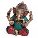Jolly Large Brass Turquoise God Ganesh Statue Hindu Ganesha Religious India Vtg