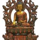 Large Buddha Statue Bronze Tibetan Buddhism Chinese Sakyamuni Carved hand Old