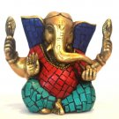 Statue Ganesha Ganesh God Hindu Figurine Brass Turquoise Antique Sculptures #