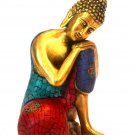Larg Sitting Buddha Statue Turquoise Gemstone Vtg Brass Meditating Bodhi Buddhas