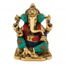 Indian God Ganesha Statue Ganesh Hindu Lord Elephant Diety Metal Turquoise Inlay