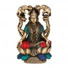 Goddess Lakshmi Statue Hindu Religious Idol Brass Turquoise Handwork Diwali Gift