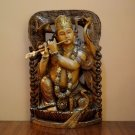 Krishna Statue Hindu God Lord Flute Love Religious Gift Idol Figurine wood paint