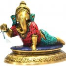 Turquoise Child Ganesh Statue Hindu Ganesha God Elephant Lord Metal Sculpture