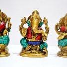 Ganesha Lakshmi Sarasvati Statue Hindu God Goddess Brass Statues Turquiose Deity