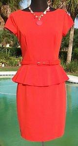 Cache $178 STRETCH~ PEPLUM DRESS LINED Top NWT M/L 8/10/12 + BELT Contour
