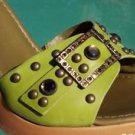 Donald Pliner $285 COUTURE NAPPA LEATHER Shoe NIB GEMSTONES GROMMETS SANDAL