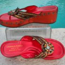 $345 Donald Pliner COUTURE METALLIC LEATHER BEADED PEACE WEDGE THONG SHOE NIB