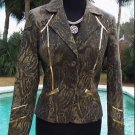 Cache LUXE  $258 ANIMAL METALLIC LEATHER Top JACKET NWT S/M/L 6/8/10 LINED