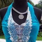 Cache $118 RUCHED PEEK-A-BOO SEQUIN PLUNG 2 NAVEL HALTER Top NWT STRETCH S/M/L