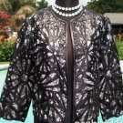 Cache $398 LASER CUT LEATHER SWING JACKET Top NWT S/M/L PEEK-A-BOO BLACK WHITE