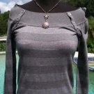 Cache $98 METALLIC SEXY NECK SHOULDER Top NWT XS/S STRETCH RIB KNIT