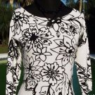 Cache $78 BLACK WHITE FLORAL BODY HUGGING STRETCH Top NWT S/M YUMMY SOFT~